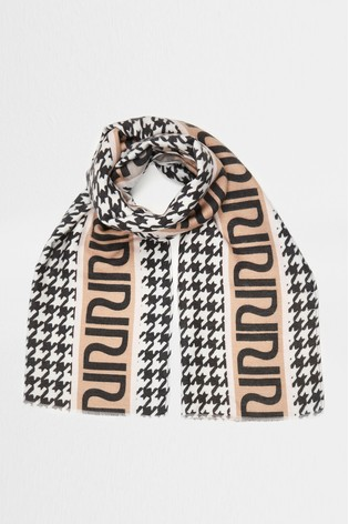 River Island White Houndstooth Scarf