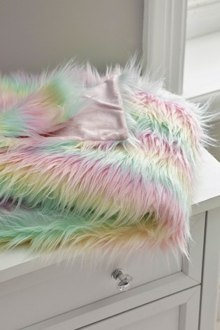 Rainbow Ombre Faux Fur Throw