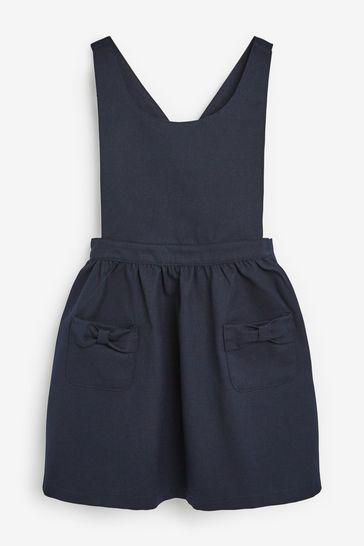 Navy Bow Pinafore (3-14yrs)