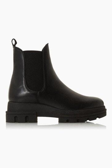 Dune London Provense Black Chunky Outsole Chelsea Boots
