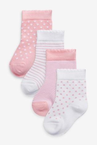 Pink 4 Pack Stripe/Spot Socks (Younger)