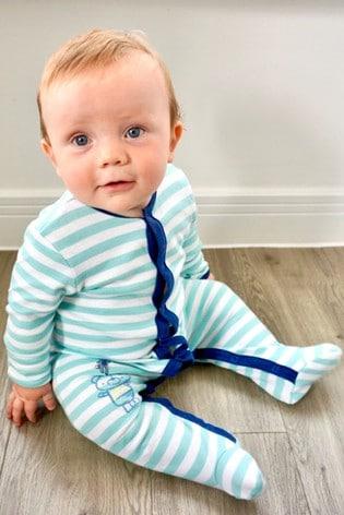 The Essential One Baby Boys Sleepsuit In Grey/Navy Stripe