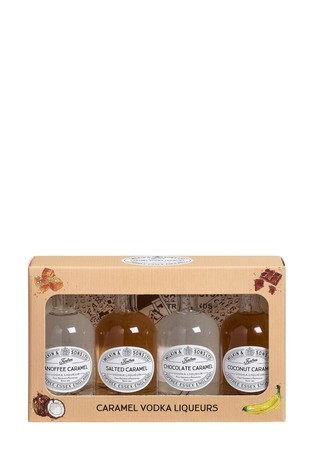 Set of 4 5cl Miniature Caramel Vodka Liqueurs Gift Box by Tiptree