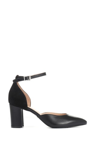 Jones Bootmaker Black Ellie Leather Ladies Mary Jane Heel Sandals