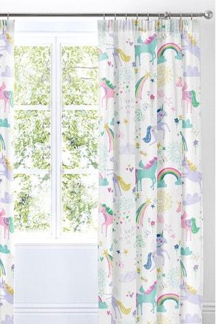 Rainbow Unicorn Pencil Pleat Curtains by Bedlam