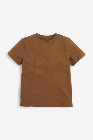 Tan Brown Short Sleeve Crew Neck T-Shirt (3-16yrs)