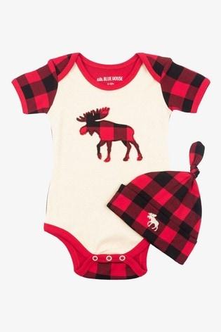 Hatley Cream Plaid Moose Baby Bodysuit & Hat