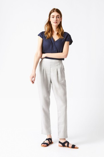 White Stuff Grey Maison Linen Trousers