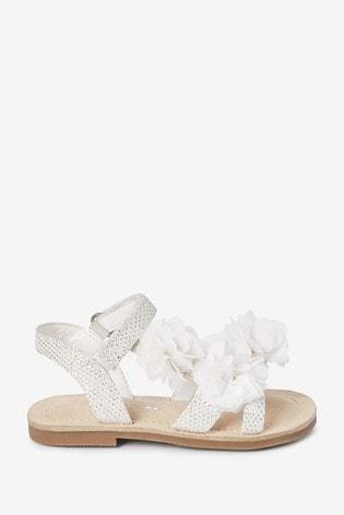 White Corsage Occasion Sandals