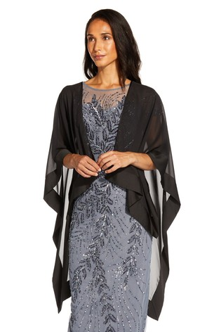 Adrianna Papell Black Chiffon Cape Cover Up