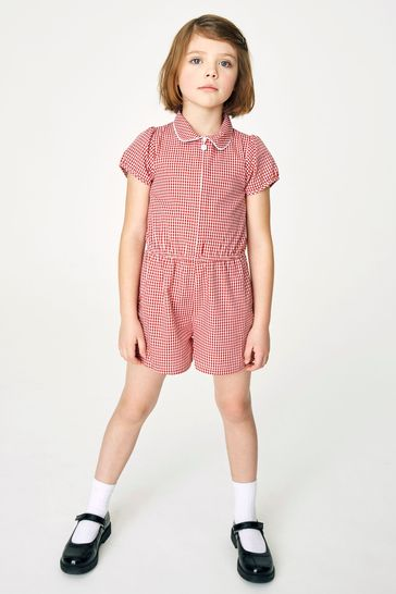 Red Gingham Playsuit (3-14yrs)