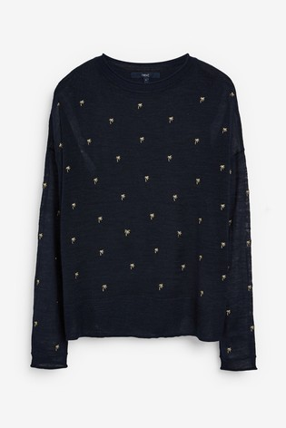 Navy Embroidered Relaxed Linen Blend Top