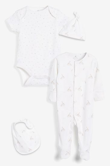 White GOTS Organic Giraffe Sleepsuit, Short Sleeve Bodysuit, Bib And Hat Set (0-6mths)