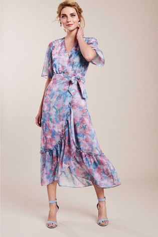 Pure Collection Pink Printed Wrap Midi Dress