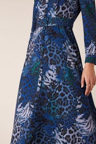 Monsoon Blue Andrea Animal Print Shirt Dress