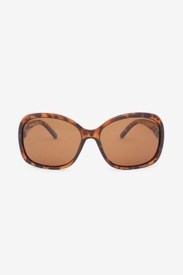 Tortoiseshell Effect Medium Square Polarised Sunglasses