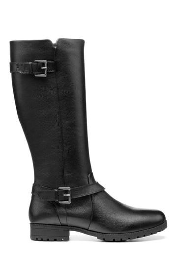 Hotter Black Belgravia Wide Fit Zip Fastening Knee Boots