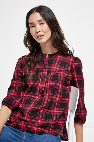 Berry Check Overhead Blouse
