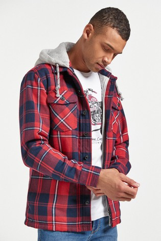 Red/Navy Check Hooded Shacket