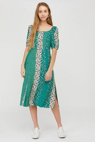 Monsoon Green Poppy Patch Print Ecovero Dress