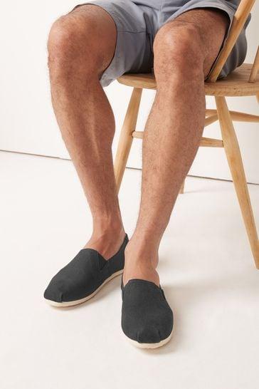 Black Canvas A-Line Slip-Ons