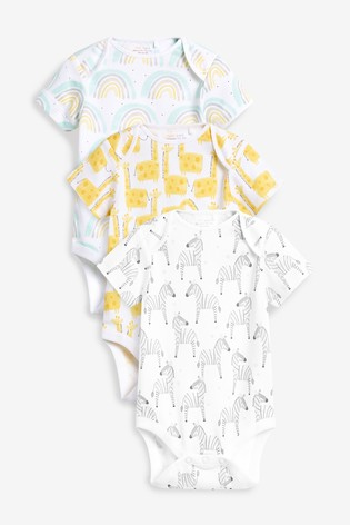 Bright Character 3 Pack Short Sleeve Bodysuits (0mths-3yrs)