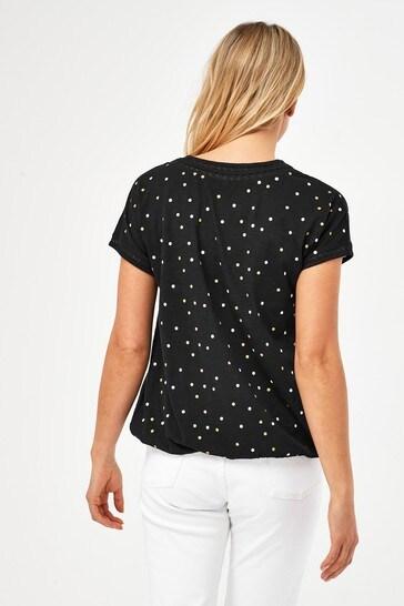 Black Glitter Spot Bubble Hem T-Shirt
