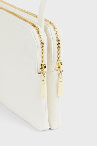 Ted Baker Cream Ciarraa Soft Leather Double Pouch Cross-Body Bag