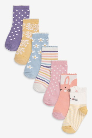 Multi 7 Pack Pretty Character Socks