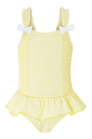 Monsoon Baby Bow Seersucker Swimsuit