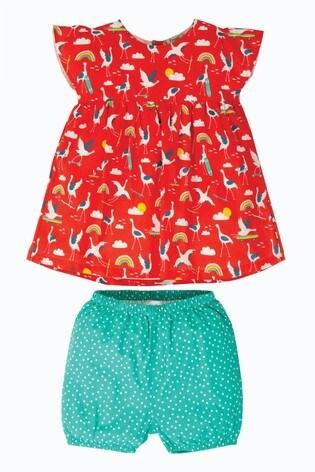 Frugi Red GOTS Organic Cotton Tunic And Shorts Set