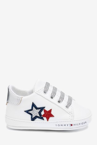Tommy Hilfiger White Glitter Star Baby Trainers