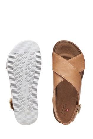 Clarks Sand Leather Elayne Cross Sandals