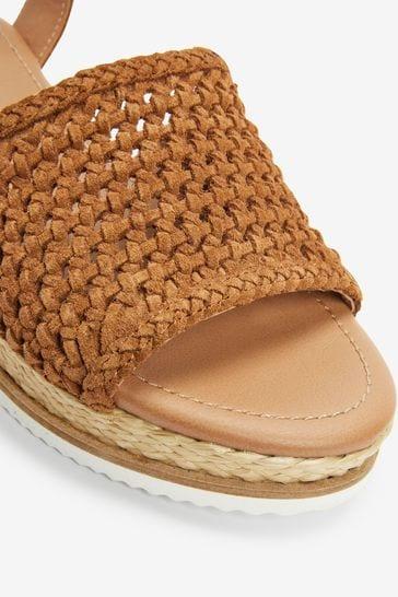 Tan Suede Regular/Wide Fit Forever Comfort® Weave Flatform Sandals