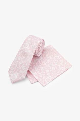 Pink Slim Floral Silk Tie And Pocket Square Set