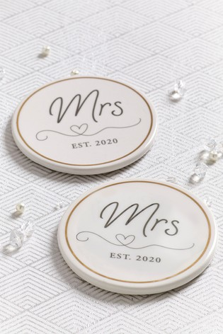 Set of 2 Mrs And Mrs Coasters