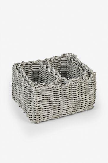 Set of 3 Plastic Wicker Storage Trays