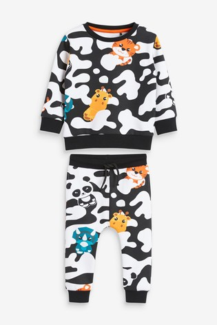 Black/White Camouflage With Rainbow Animals Crew And Joggers Set (3mths-7yrs)