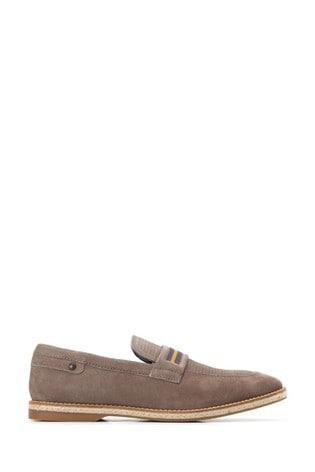 Base London® Grey Kinsey Suede Slip-On Loafers