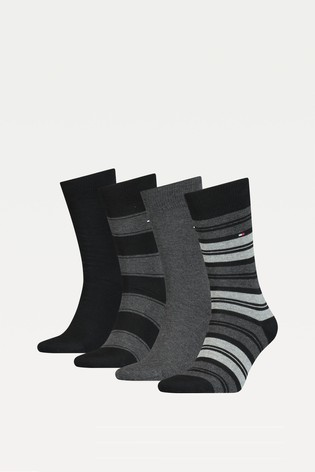 Tommy Hilfiger Black 4 Pack Stripe Sock Tin Giftbox