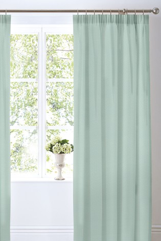 Country Journal Check Lined Pencil Pleat Curtains by D&D