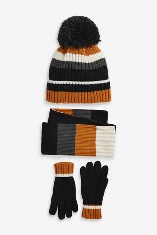 Mono Ochre Hat, Gloves And Scarf Three Piece Set (Older)