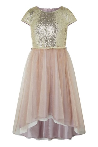 Monsoon Gold Kylie Cap Sleeve Tiered Prom Dress