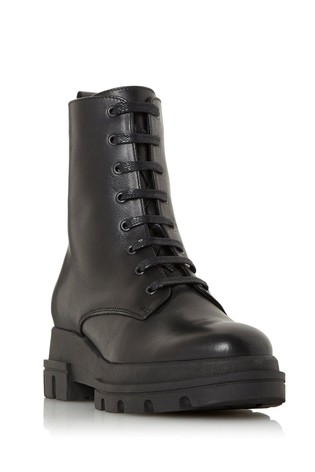 Dune London Parque T Black Chunky Outsole Lace-Up Ankle Boots