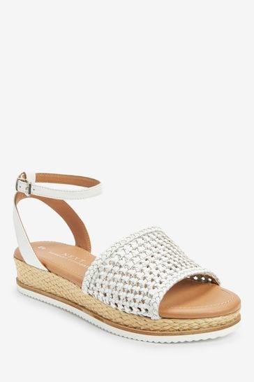 White/Silver Regular/Wide Fit Forever Comfort® Weave Flatform Sandals