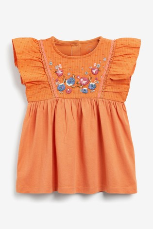 Orange Embroidered Jersey Woven Blouse (3mths-7yrs)