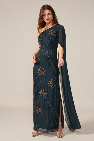 Phase Eight Blue Kalina One Shoulder Cape Dress