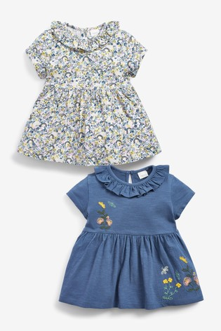 Blue 2 Pack Organic Cotton Floral T-Shirts (3mths-7yrs)
