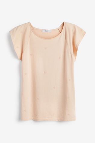 Apricot Washed Flower Embroidered T-Shirt