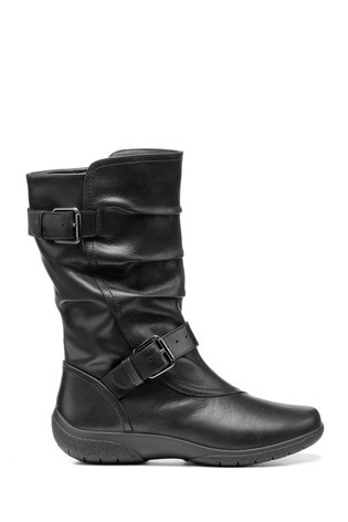 Hotter Black Sherbourne Wide Fit Zip Fastening Calf Boots